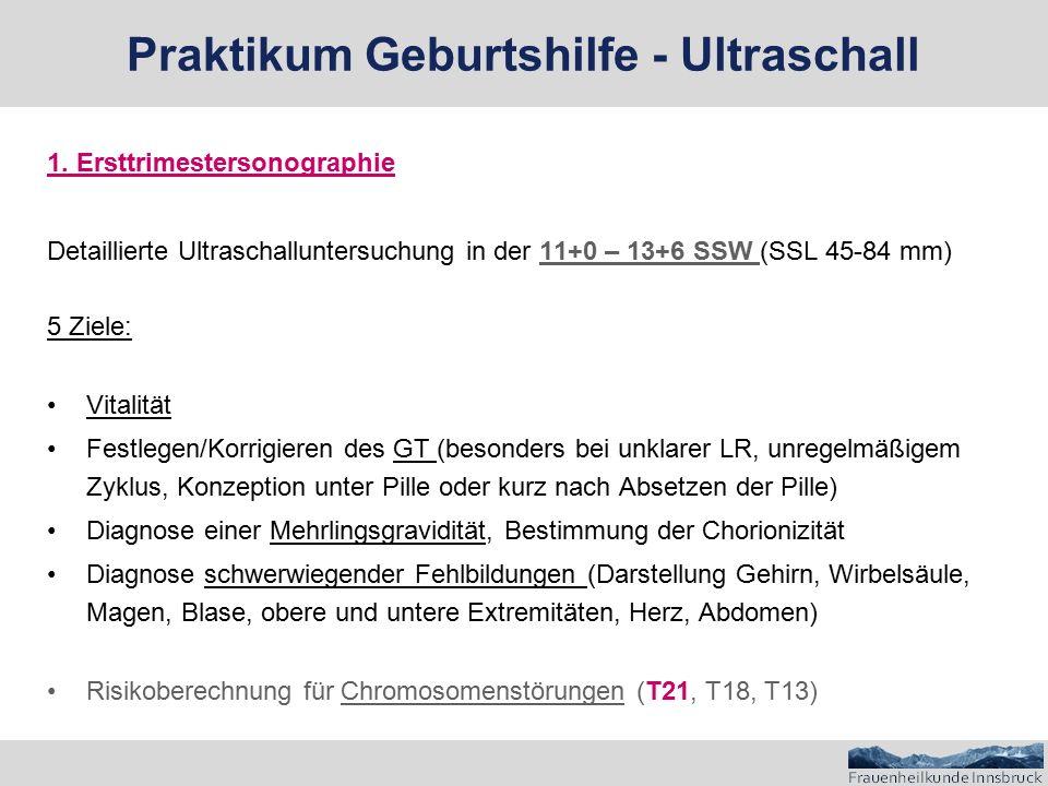 """Risikoberechnung für Chromosomenstörungen (T21, T18, T13) 3 Säulen:  Mütterliches Alter  Blutuntersuchung (Biochemie): freies ßhCG, PAPP-A  Ultraschallmarker  Nackenfalte  Nasenbein  Fetale Herzfrequenz  Fetale sonoanatomische Auffälligkeiten  """"Zusatzmarker : Ductus venosus, Trikuspidalklappe, Gesichtswinkel Praktikum Geburtshilfe - Ultraschall"""