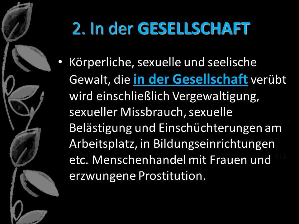 2. In der GESELLSCHAFT Körperliche, sexuelle und seelische Gewalt, die in der Gesellschaft verübt wird einschließlich Vergewaltigung, sexueller Missbr