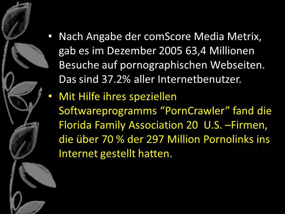 Nach Angabe der comScore Media Metrix, gab es im Dezember 2005 63,4 Millionen Besuche auf pornographischen Webseiten.