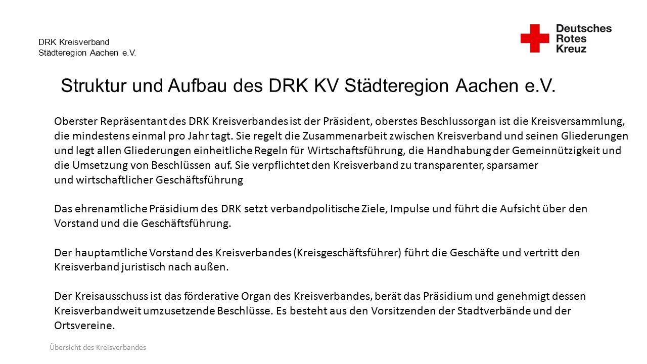 DRK Kreisverband Städteregion Aachen e.V.Übersicht des Kreisverbandes Präsident: Ingo Kohnen Stv.