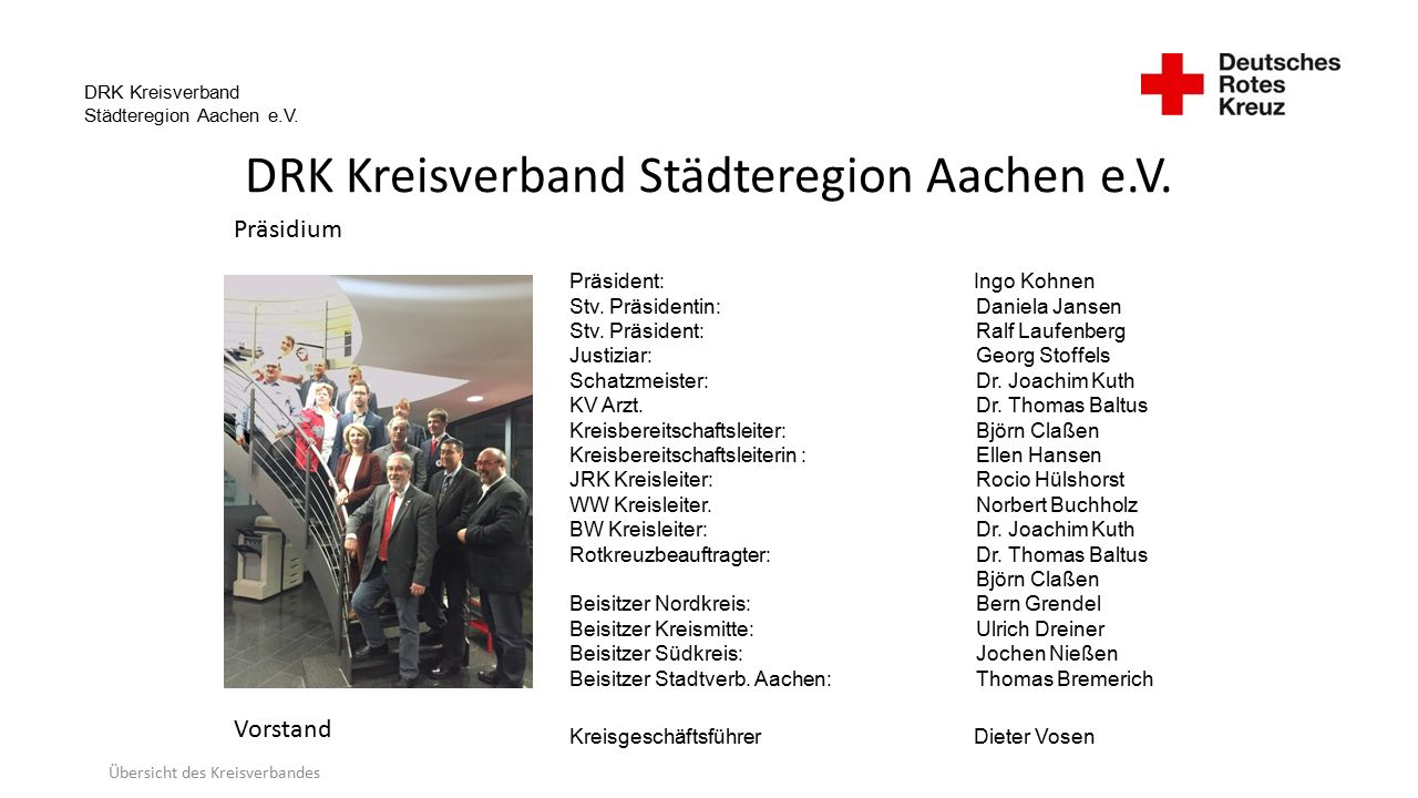 DRK Kreisverband Städteregion Aachen e.V. Übersicht des Kreisverbandes Präsident: Ingo Kohnen Stv.