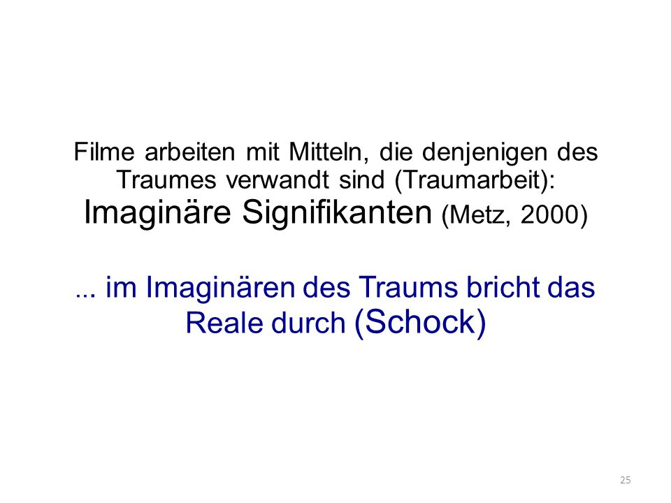 Filme arbeiten mit Mitteln, die denjenigen des Traumes verwandt sind (Traumarbeit): Imaginäre Signifikanten (Metz, 2000)...