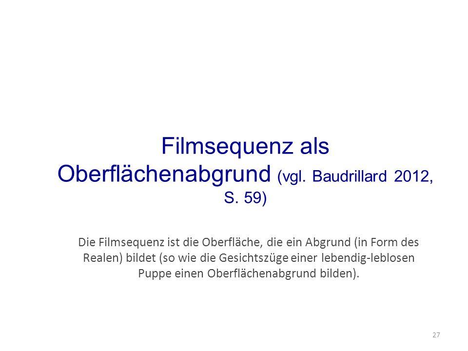 Filmsequenz als Oberflächenabgrund (vgl. Baudrillard 2012, S.