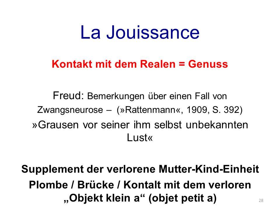 La Jouissance Kontakt mit dem Realen = Genuss Freud: Bemerkungen über einen Fall von Zwangsneurose – (»Rattenmann«, 1909, S. 392) »Grausen vor seiner