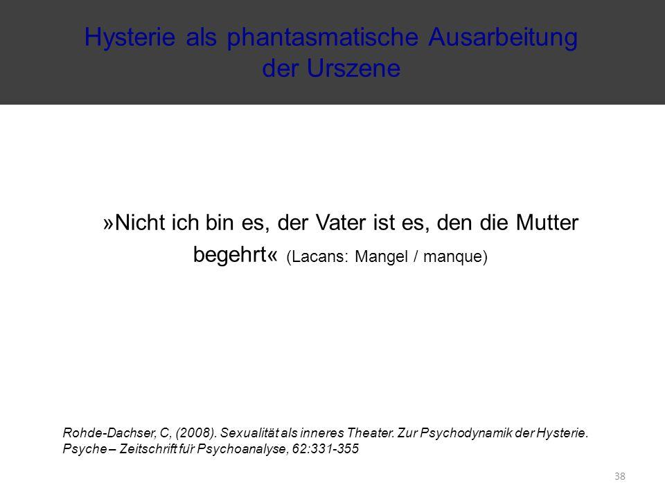 »Nicht ich bin es, der Vater ist es, den die Mutter begehrt« (Lacans: Mangel / manque) Rohde-Dachser, C, (2008). Sexualität als inneres Theater. Zur P