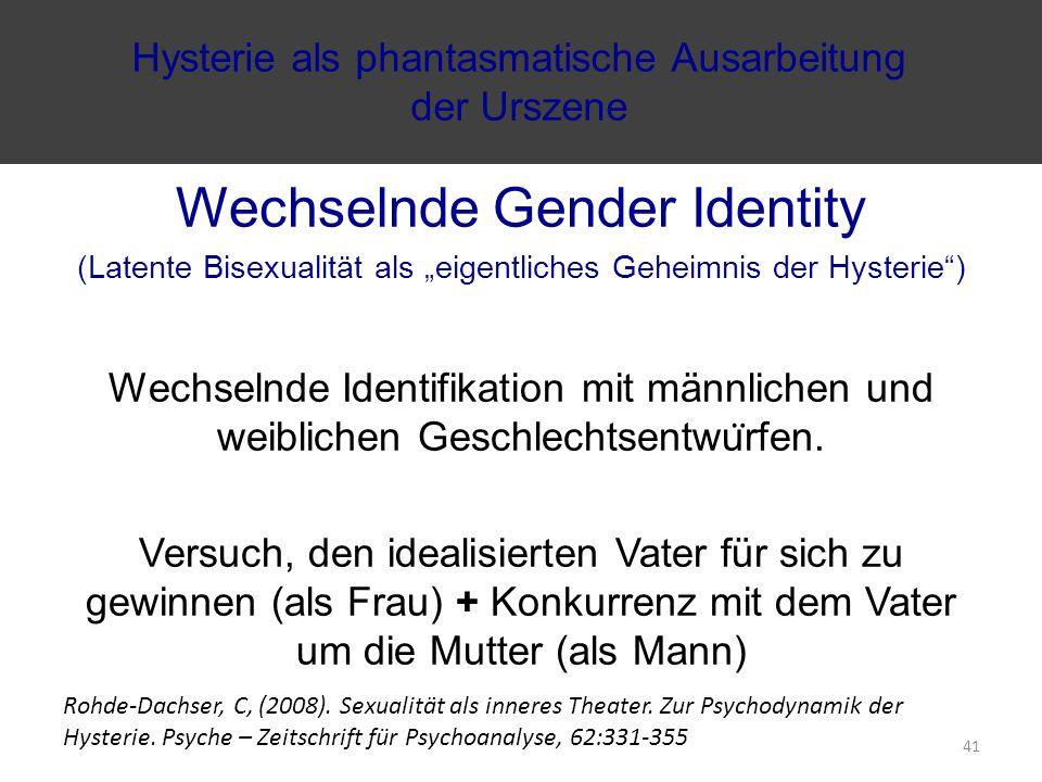 """Wechselnde Gender Identity (Latente Bisexualität als """"eigentliches Geheimnis der Hysterie ) Wechselnde Identifikation mit männlichen und weiblichen Geschlechtsentwu ̈ rfen."""