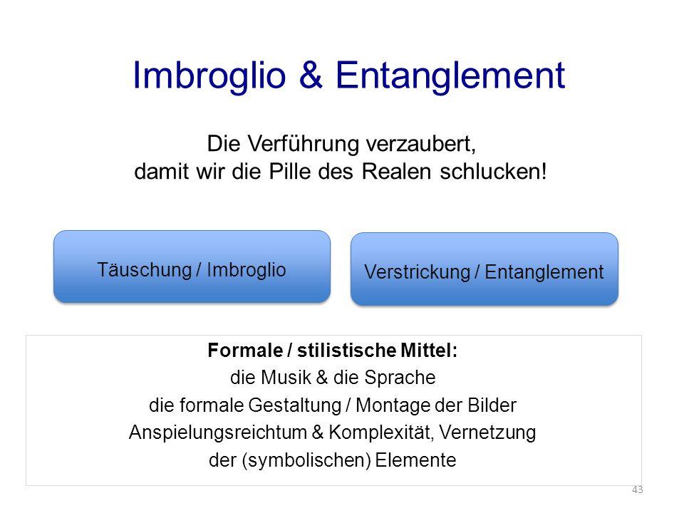 Imbroglio & Entanglement Formale / stilistische Mittel: die Musik & die Sprache die formale Gestaltung / Montage der Bilder Anspielungsreichtum & Komplexität, Vernetzung der (symbolischen) Elemente Die Verführung verzaubert, damit wir die Pille des Realen schlucken.