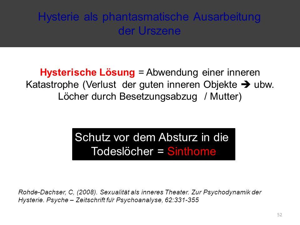 Hysterische Lösung = Abwendung einer inneren Katastrophe (Verlust der guten inneren Objekte  ubw. Löcher durch Besetzungsabzug / Mutter) Rohde-Dachse