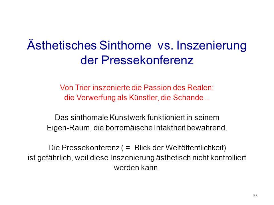Ästhetisches Sinthome vs. Inszenierung der Pressekonferenz Von Trier inszenierte die Passion des Realen: die Verwerfung als Künstler, die Schande... D