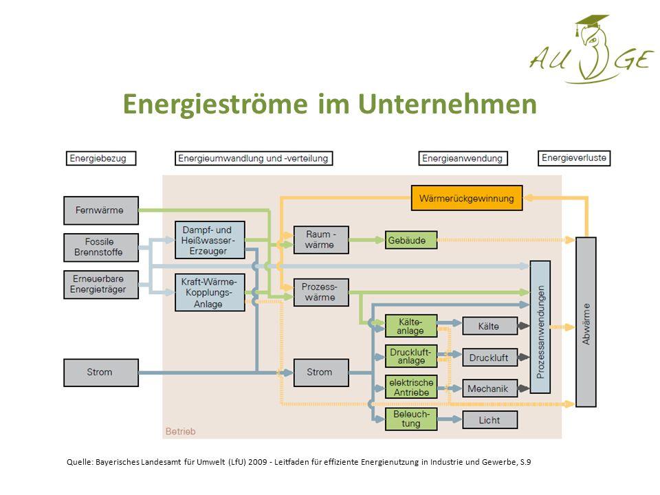 Energieströme im Unternehmen Quelle: Bayerisches Landesamt für Umwelt (LfU) 2009 - Leitfaden für effiziente Energienutzung in Industrie und Gewerbe, S
