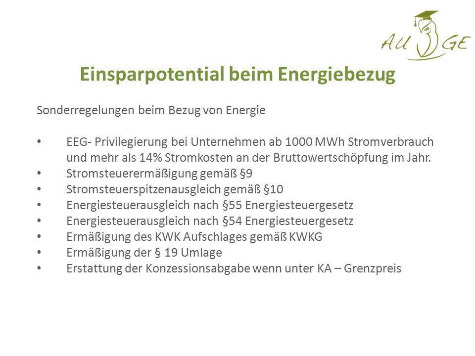 Einsparpotential beim Energiebezug Sonderregelungen beim Bezug von Energie EEG- Privilegierung bei Unternehmen ab 1000 MWh Stromverbrauch und mehr als