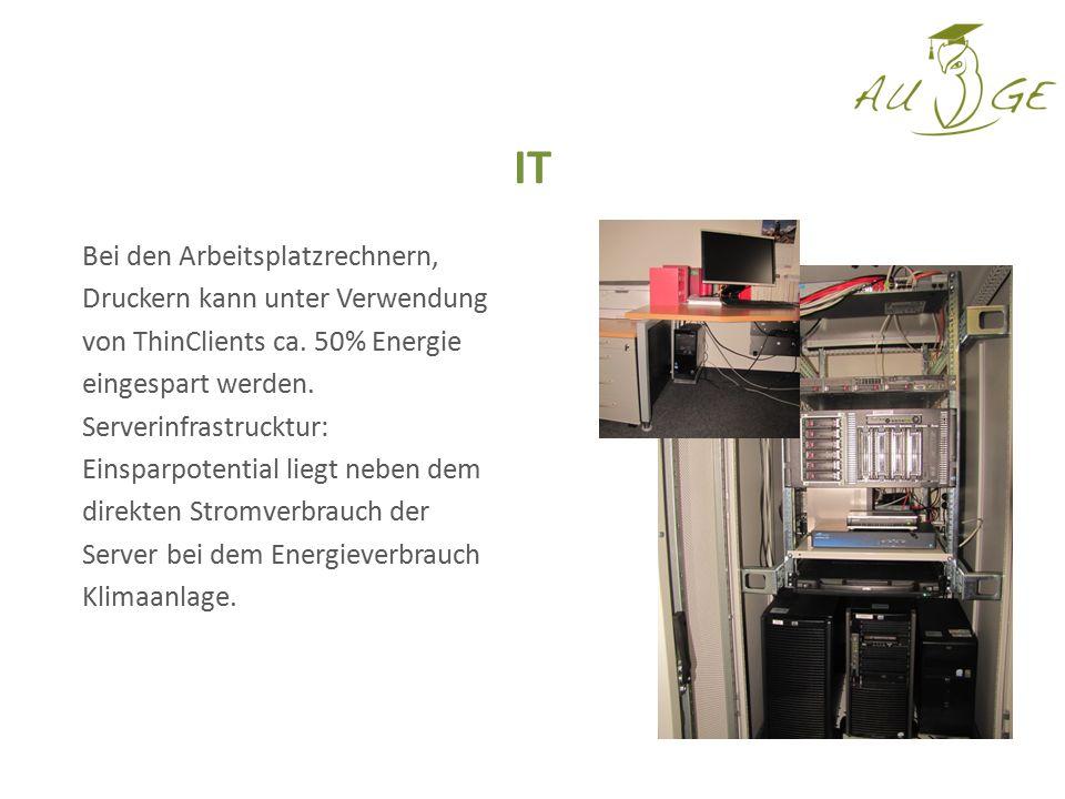 Bei den Arbeitsplatzrechnern, Druckern kann unter Verwendung von ThinClients ca. 50% Energie eingespart werden. Serverinfrastrucktur: Einsparpotential