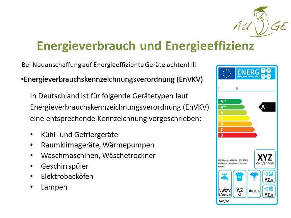 Energieverbrauchskennzeichnungsverordnung (EnVKV) Energieverbrauchskennzeichnungsverordnung (EnVKV) In Deutschland ist für folgende Gerätetypen laut E