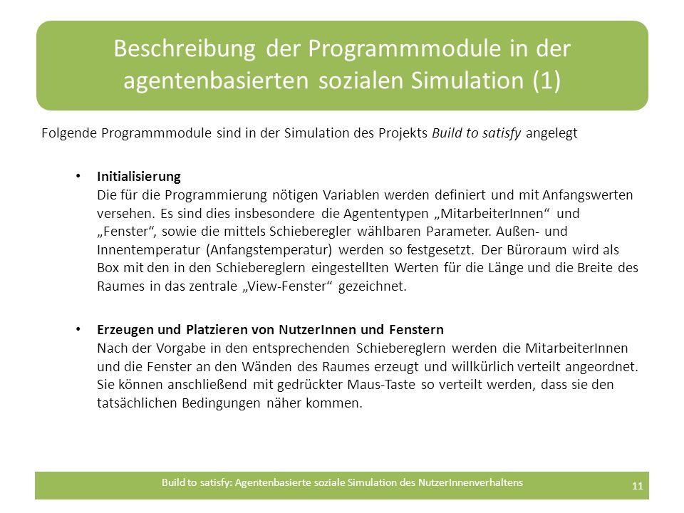 Beschreibung der Programmmodule in der agentenbasierten sozialen Simulation (1) Folgende Programmmodule sind in der Simulation des Projekts Build to satisfy angelegt Initialisierung Die für die Programmierung nötigen Variablen werden definiert und mit Anfangswerten versehen.