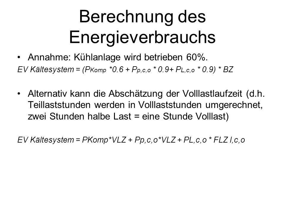 Berechnung des Energieverbrauchs Annahme: Kühlanlage wird betrieben 60%.