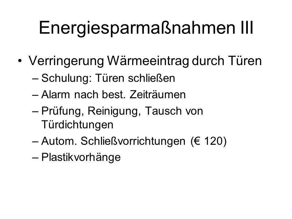 Energiesparmaßnahmen III Verringerung Wärmeeintrag durch Türen –Schulung: Türen schließen –Alarm nach best.