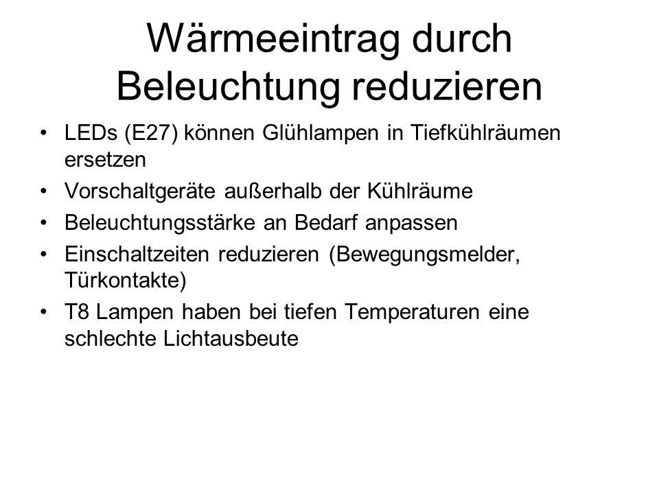 Wärmeeintrag durch Beleuchtung reduzieren LEDs (E27) können Glühlampen in Tiefkühlräumen ersetzen Vorschaltgeräte außerhalb der Kühlräume Beleuchtungsstärke an Bedarf anpassen Einschaltzeiten reduzieren (Bewegungsmelder, Türkontakte) T8 Lampen haben bei tiefen Temperaturen eine schlechte Lichtausbeute