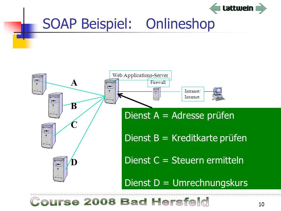 9 SOAP Beispiel: Onlineshop Ein Kunde möchte in einem Onlineshop Artikel bestellen. Der Onlineshop ist in einen Applikationsserver realisiert.  Diese