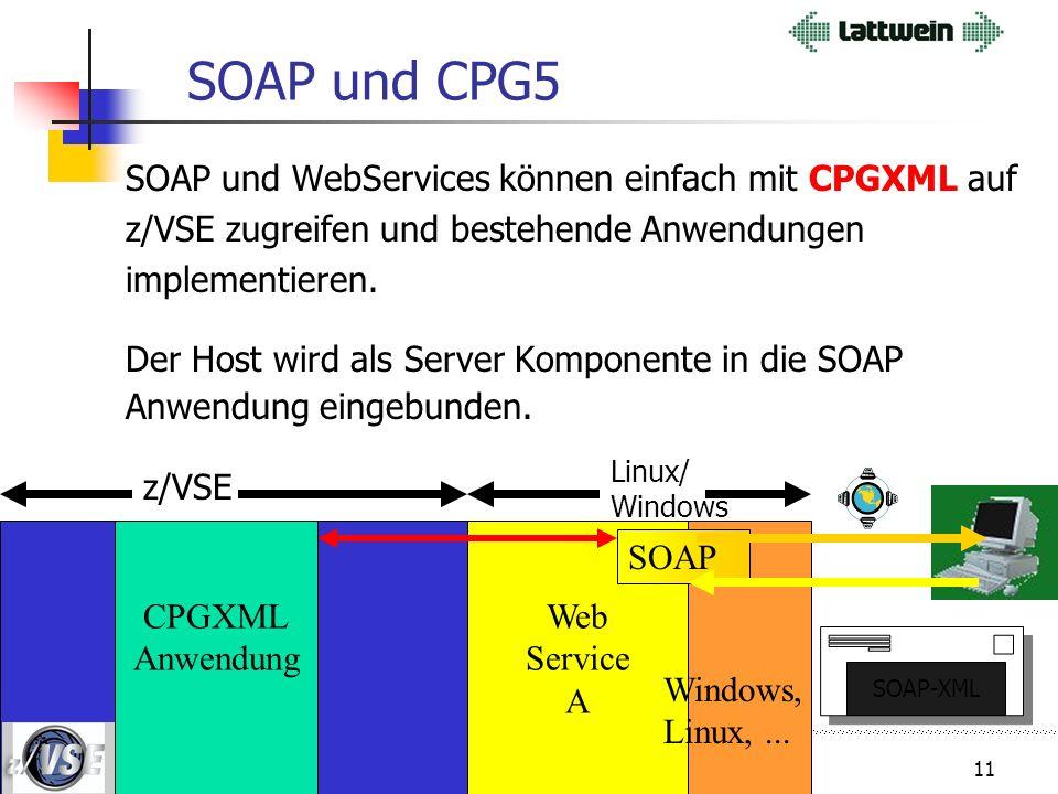 10 SOAP Beispiel: Onlineshop Intranet/ Internet Web Applications-Server Firewall A C B Dienst A = Adresse prüfen Dienst B = Kreditkarte prüfen Dienst