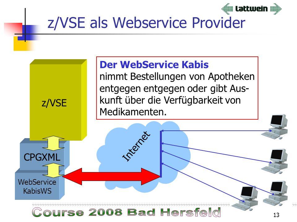 12 Web Services und Lattwein z/VSE als Webservice Dienst Provider wurde von Lattwein für Kapferer realisiert. z/VSE als Webservice Client wurde parall