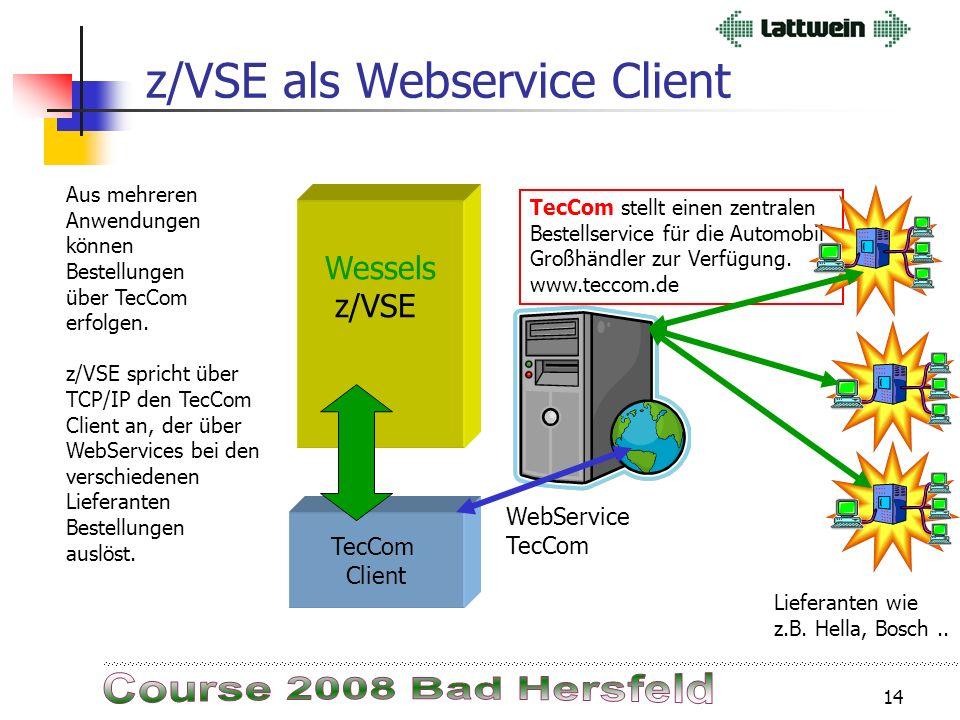 13 WebService KabisWS z/VSE als Webservice Provider CPGXML Internet z/VSE Der WebService Kabis nimmt Bestellungen von Apotheken entgegen entgegen oder