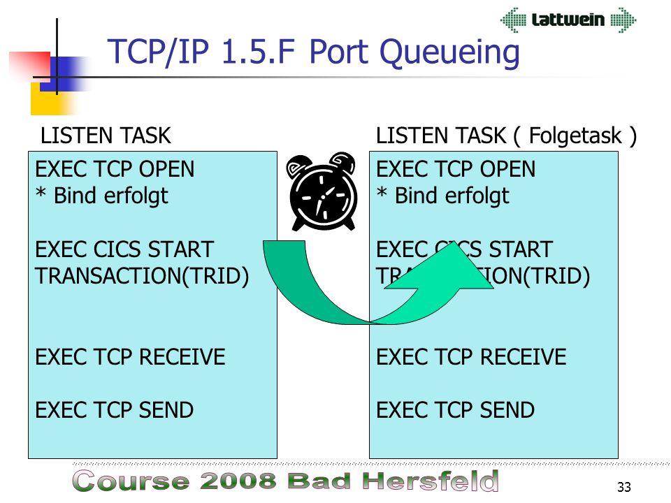 32 TCP/IP 1.5.FPort Queueing Zeit zum Starten einer Folgetransaktion dauert relativ lange. Mit der Port Queue können ankommende Requests (= Binds) geb