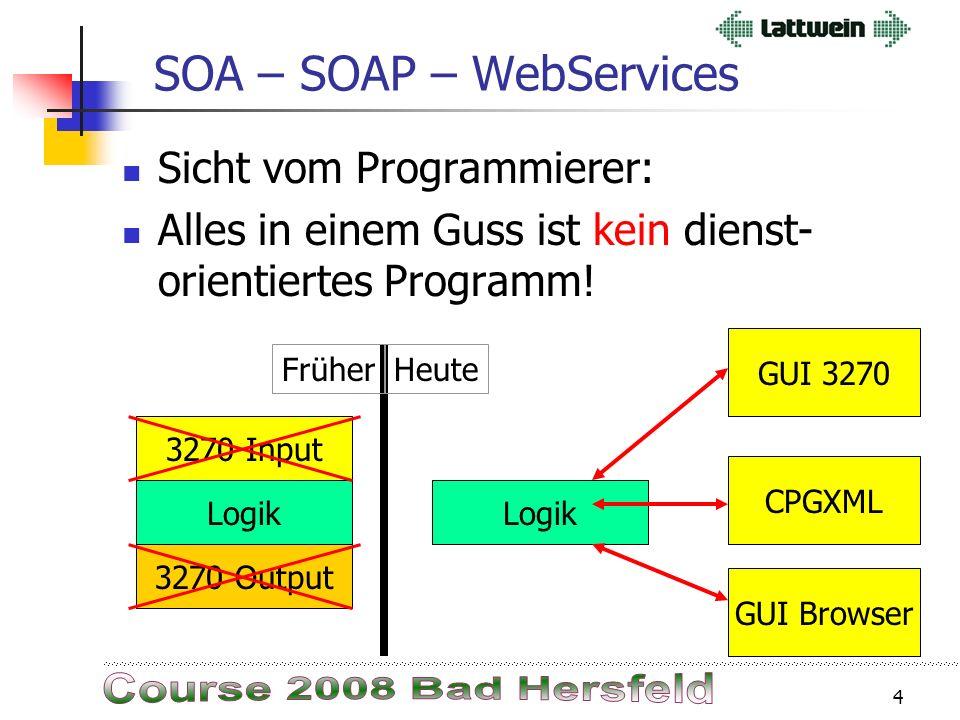 3 SOA – SOAP – WebServices Was ist SOA ? Serviceorientierte Architektur (SOA), service oriented architecture, dienstorientierte Architektur. SOA ist e