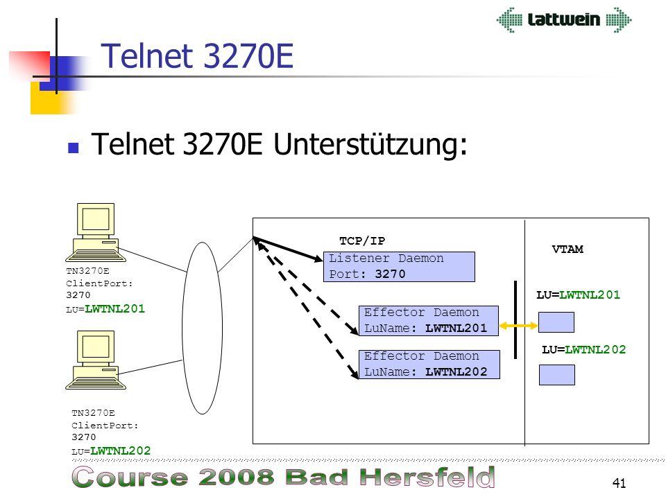 40 Host On Demand Nach der Anmeldung beim AD (Active Directory) wird über Websphere eine Webseite mit den möglichen 3270 Sessions angezeigt. Diese Ses