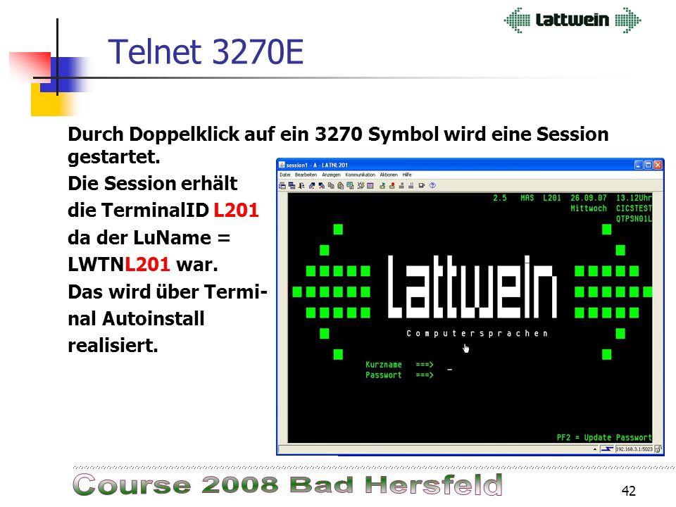 41 Telnet 3270E Telnet 3270E Unterstützung: Listener Daemon Port: 3270 Effector Daemon LuName: LWTNL202 Effector Daemon LuName: LWTNL201 TCP/IP TN3270