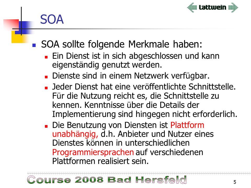 4 SOA – SOAP – WebServices Sicht vom Programmierer: Alles in einem Guss ist kein dienst- orientiertes Programm! 3270 Input Logik 3270 Output Logik GUI