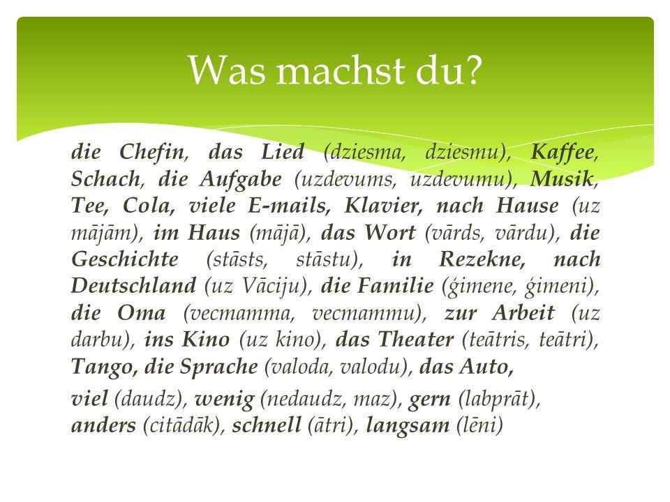 die Chefin, das Lied (dziesma, dziesmu), Kaffee, Schach, die Aufgabe (uzdevums, uzdevumu), Musik, Tee, Cola, viele E-mails, Klavier, nach Hause (uz mājām), im Haus (mājā), das Wort (vārds, vārdu), die Geschichte (stāsts, stāstu), in Rezekne, nach Deutschland (uz Vāciju), die Familie (ģimene, ģimeni), die Oma (vecmamma, vecmammu), zur Arbeit (uz darbu), ins Kino (uz kino), das Theater (teātris, teātri), Tango, die Sprache (valoda, valodu), das Auto, viel (daudz), wenig (nedaudz, maz), gern (labprāt), anders (citādāk), schnell (ātri), langsam (lēni) Was machst du