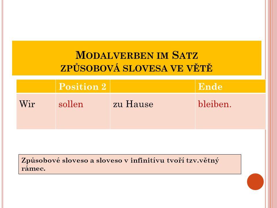M ODALVERBEN IM S ATZ ZPŮSOBOVÁ SLOVESA VE VĚTĚ Position 2Ende Wirsollenzu Hausebleiben.