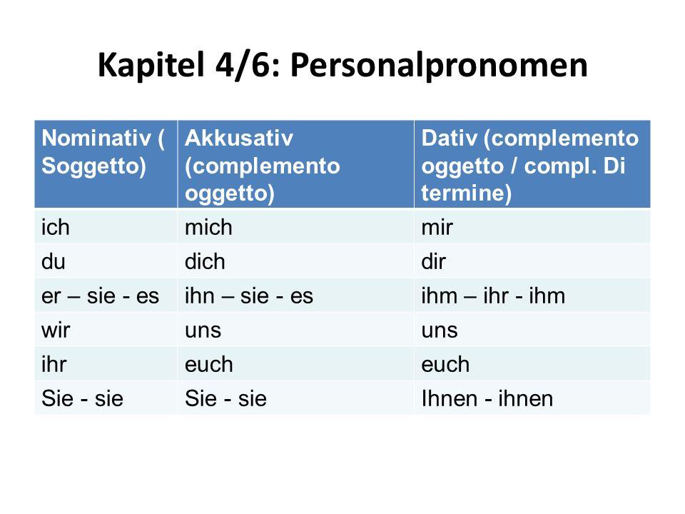 Kapitel 4/6: Personalpronomen Nominativ ( Soggetto) Akkusativ (complemento oggetto) Dativ (complemento oggetto / compl. Di termine) ichmichmir dudichd