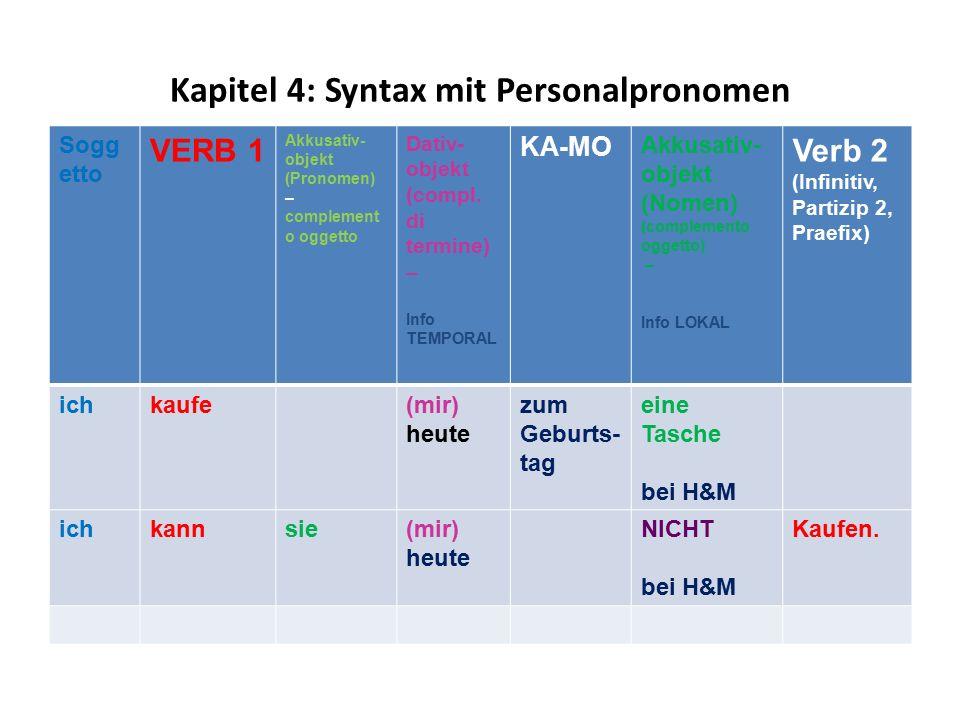 Kapitel 4: Syntax mit Personalpronomen Sogg etto VERB 1 Akkusativ- objekt (Pronomen) – complement o oggetto Dativ- objekt (compl. di termine) – Info T