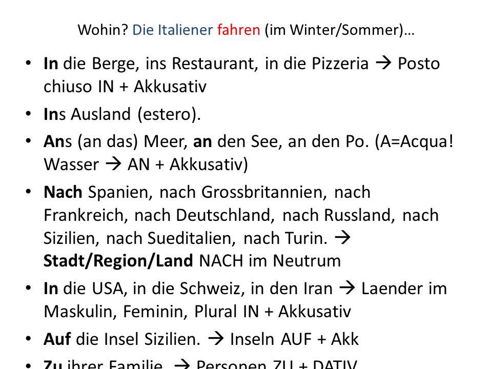 Wohin? Die Italiener fahren (im Winter/Sommer)… In die Berge, ins Restaurant, in die Pizzeria  Posto chiuso IN + Akkusativ Ins Ausland (estero). Ans