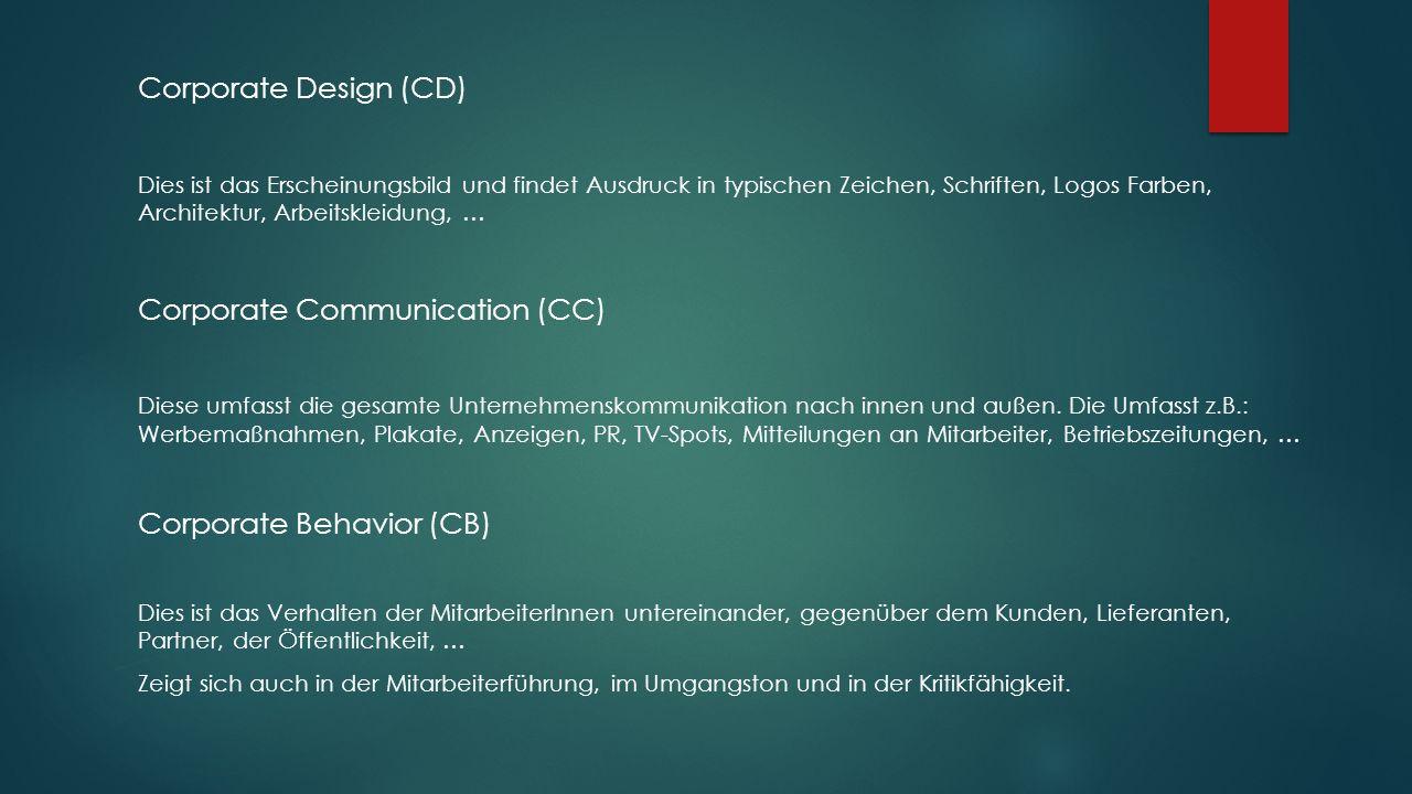 Corporate Design (CD) Dies ist das Erscheinungsbild und findet Ausdruck in typischen Zeichen, Schriften, Logos Farben, Architektur, Arbeitskleidung, … Corporate Communication (CC) Diese umfasst die gesamte Unternehmenskommunikation nach innen und außen.