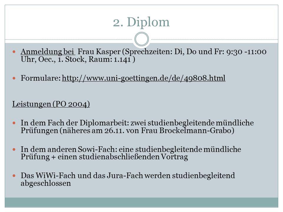 2. Diplom Anmeldung bei Frau Kasper (Sprechzeiten: Di, Do und Fr: 9:30 -11:00 Uhr, Oec., 1.