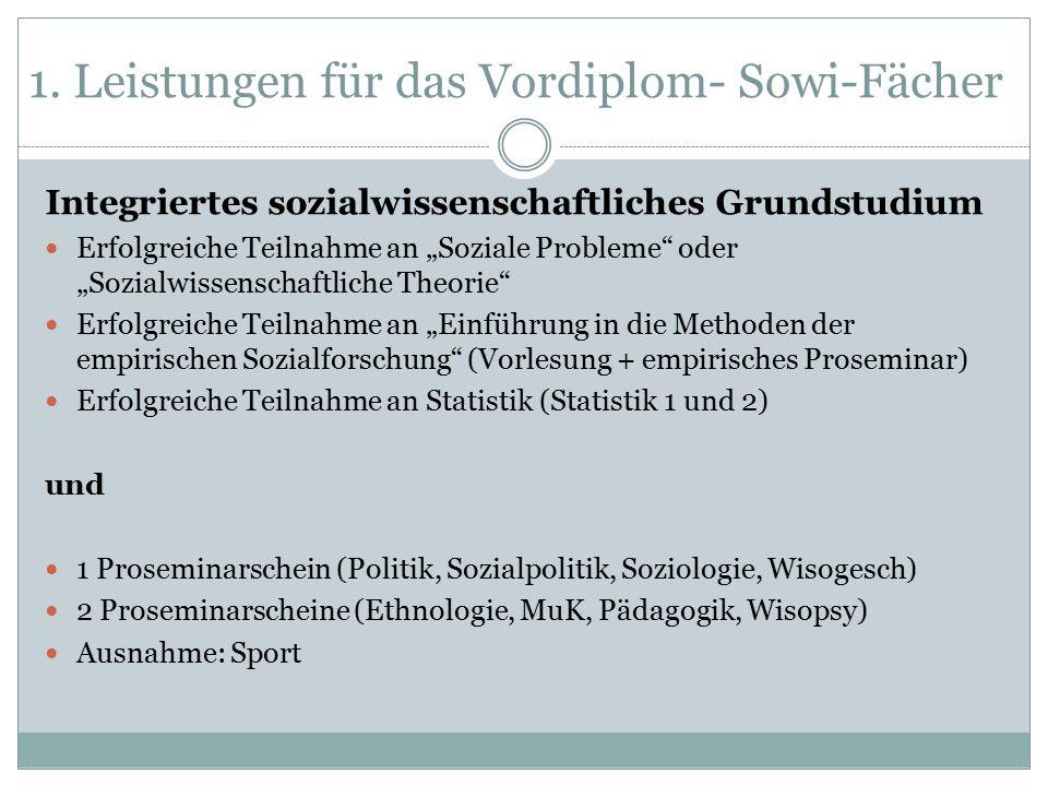 """1. Leistungen für das Vordiplom- Sowi-Fächer Integriertes sozialwissenschaftliches Grundstudium Erfolgreiche Teilnahme an """"Soziale Probleme"""" oder """"Soz"""