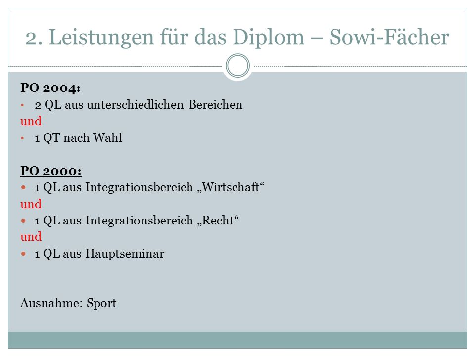 """2. Leistungen für das Diplom – Sowi-Fächer PO 2004: 2 QL aus unterschiedlichen Bereichen und 1 QT nach Wahl PO 2000: 1 QL aus Integrationsbereich """"Wir"""