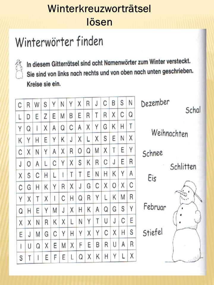 Winterkreuzworträtsel lösen