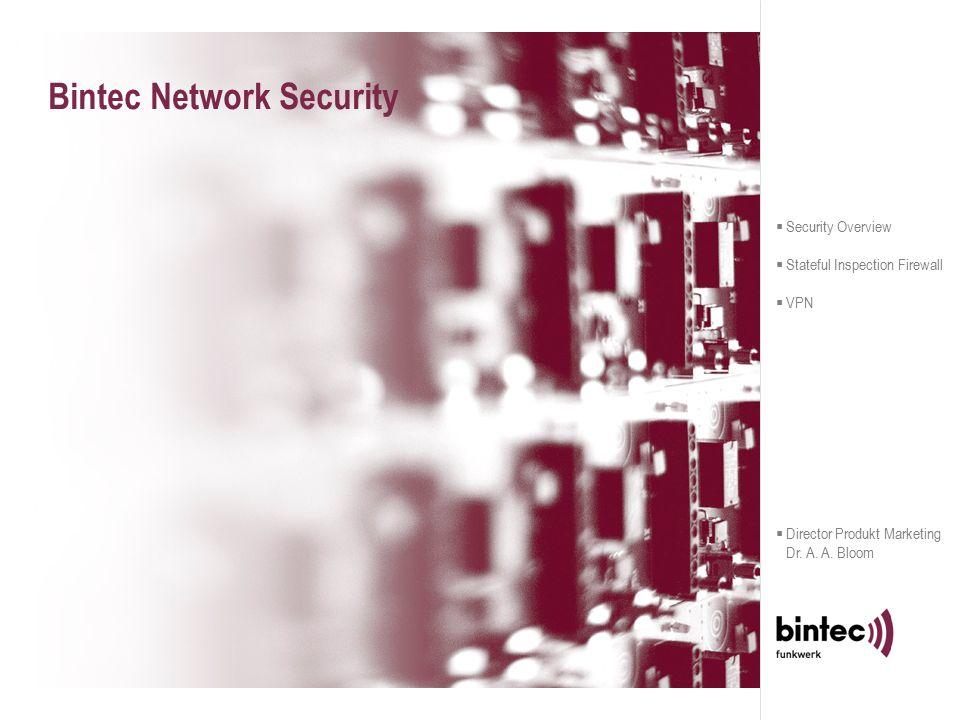 IPSec Solutions made by Bintec Bintecs Lösungen für Zentrale, Branch Office and SOHO  Central Site – X8500/X4000  Branch Office – X2000/X3200/X4000  SOHO – X1000/X1200  Remote Access – IPSec Security Client X8500 X1000 X1200 IPSec Client X3200 X4000 FAMILIE  Security Overview  Stateful Inspection Firewall  VPN