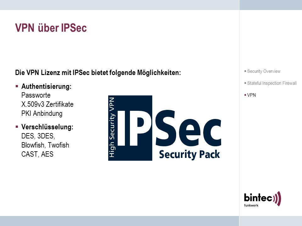 VPN über IPSec Die VPN Lizenz mit IPSec bietet folgende Möglichkeiten:  Authentisierung: Passworte X.509v3 Zertifikate PKI Anbindung  Verschlüsselun