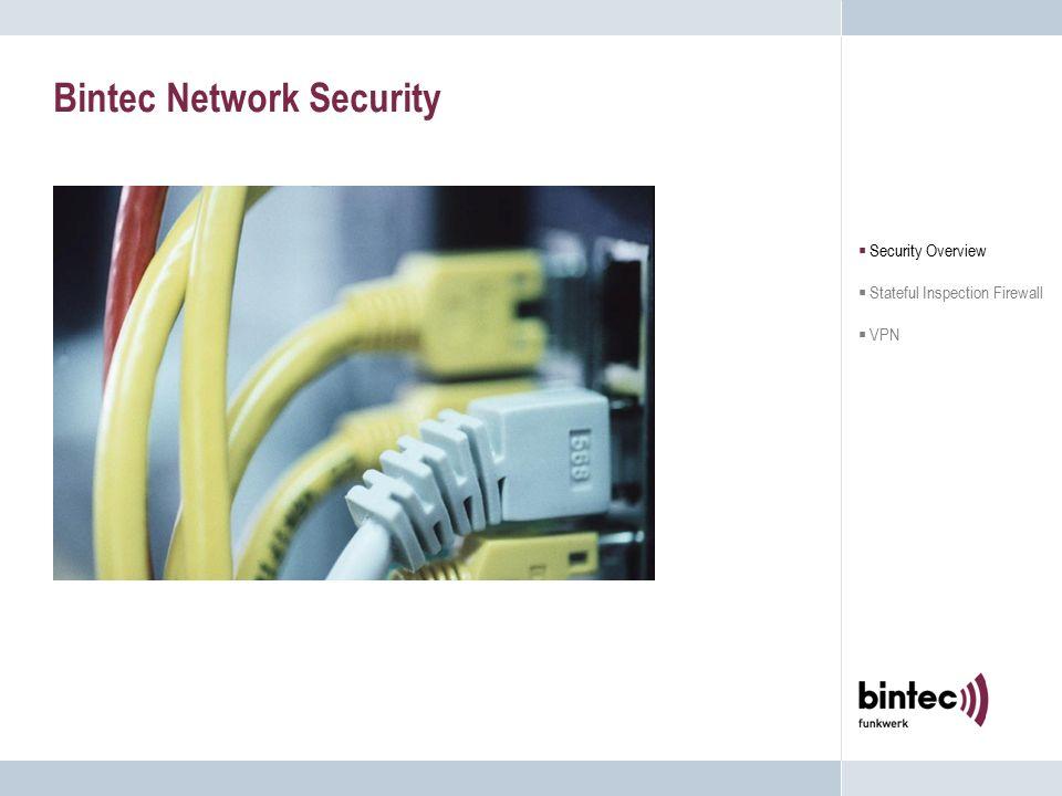 Bintecs Stateful Inspection Firewall Die Bintec Lösung:  Einfach zu konfigurieren, einfach zu realisieren, einfach zu benutzen  Unterstützung von NAT/PAT Verstecken des internen Netzwerks  Für Proxies vorbereitet Vereint die Vorteile der Stateful Inspection und der Application Level Firewall Technologie  Security Overview  Stateful Inspection Firewall  VPN Internet Firewall