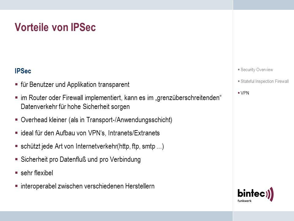 """Vorteile von IPSec IPSec  für Benutzer und Applikation transparent  im Router oder Firewall implementiert, kann es im """"grenzüberschreitenden"""" Datenv"""