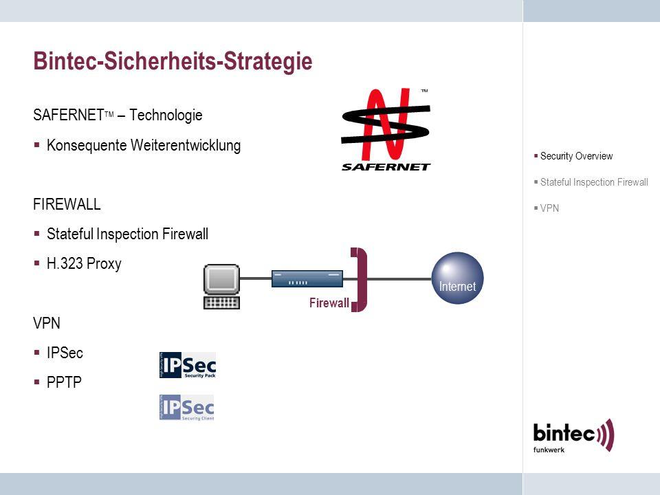 Bintec Network Security  Security Overview  Stateful Inspection Firewall  VPN