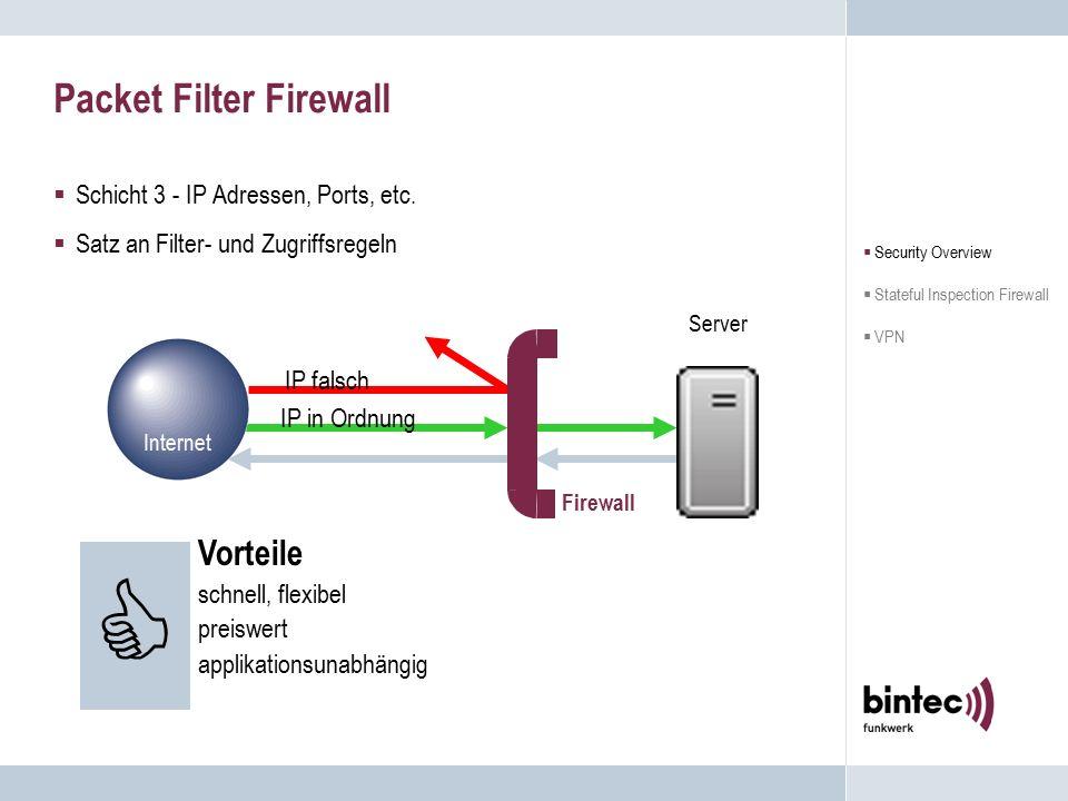 Schutz durch die Firewall  Die Firewall schränkt den Netzwerkzugang zwischen äußerem (unsicher) und inneren (sicher) Netzwerk durch das Überprüfen des Datenstromes ein.