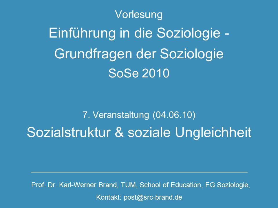 Vorlesung Einführung in die Soziologie - Grundfragen der Soziologie SoSe 2010 7.