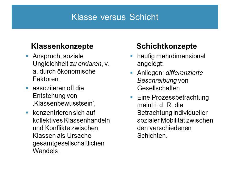 Klasse versus Schicht Klassenkonzepte  Anspruch, soziale Ungleichheit zu erklären, v.