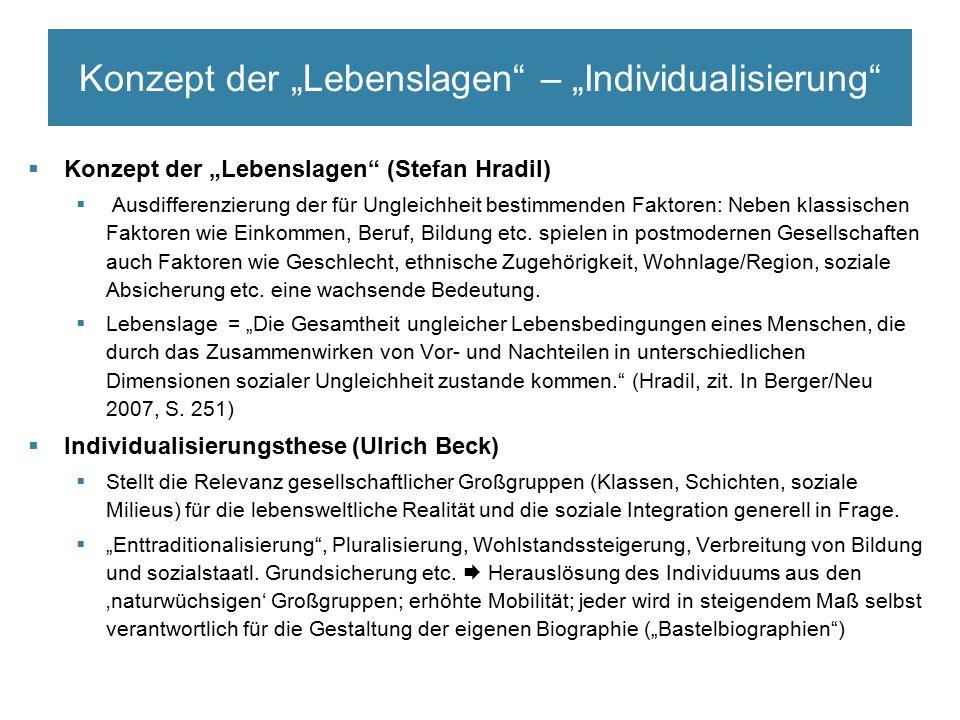"""Konzept der """"Lebenslagen – """"Individualisierung  Konzept der """"Lebenslagen (Stefan Hradil)  Ausdifferenzierung der für Ungleichheit bestimmenden Faktoren: Neben klassischen Faktoren wie Einkommen, Beruf, Bildung etc."""