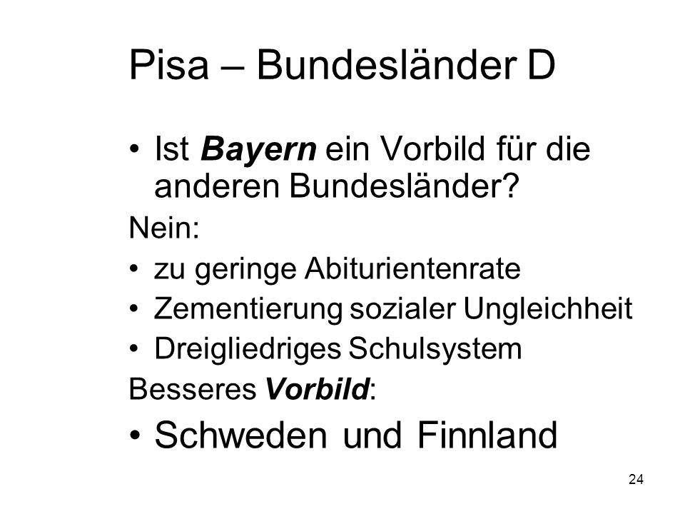 23 Pisa - Bundesländer Warum schneiden Bayern und Baden-Württemberg national überdurchschnittlich ab.